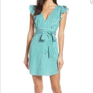 BB Dakota Green Striped Ruffle Sleeves Dress 8